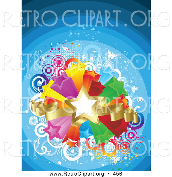 Retro Clipart of a Golden Star and Ribbons over a Bursting Island of Yellow, Purple, Orange, Red, Green and Blue Stars over a Gradient Blue Striped Retro Background of Circles and Butterflies