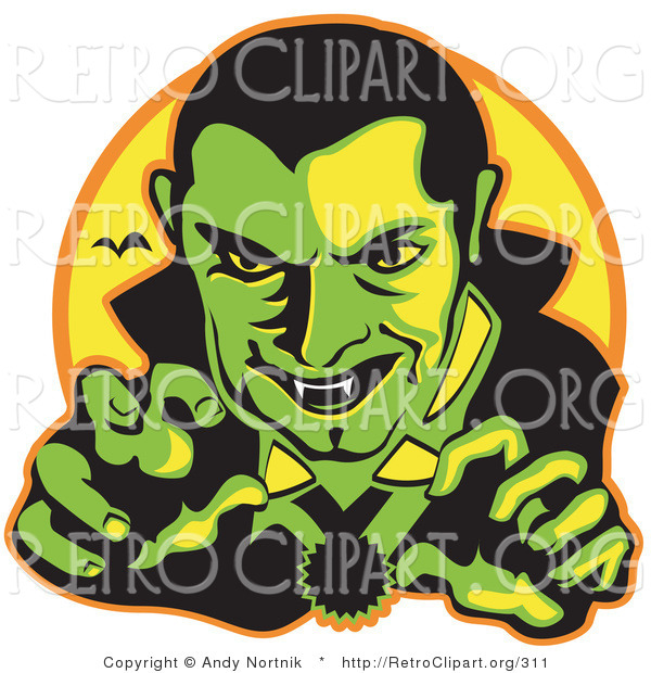 Retro Clipart of a Green Male Vampire with Dark Hair Slicked Back, Reaching Outwards While Grinning and Showing His Fangs As a Vampire Bat Flies in the Distance