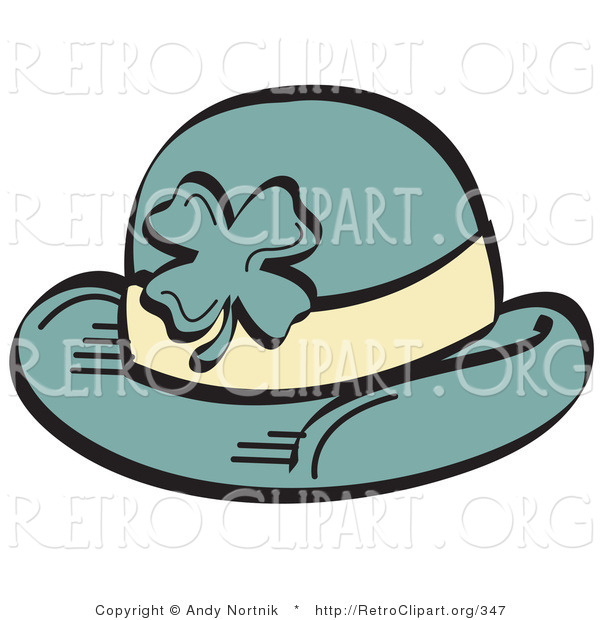 Retro Clipart of a Green St Paddy's Day Hat with a Clover on the Front