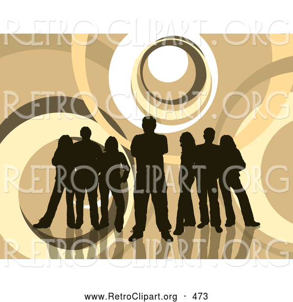 Retro Clipart of a Group of 5 Dark Brown Silhouetted People Standing over a Retro Brown and White Background with Circles