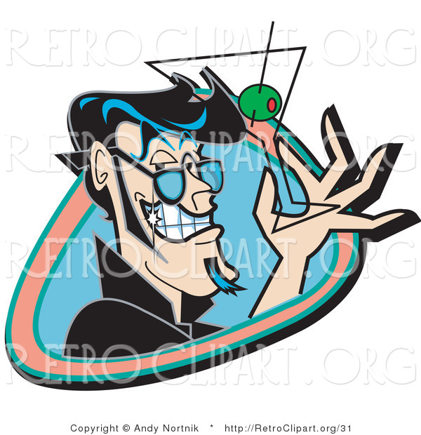 Retro Clipart of a Handsome Black Haired Man Grinning and Holding up a Martini Glass with an Olive Using Two Fingers