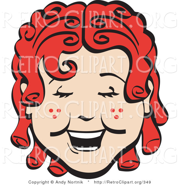 Retro Clipart of a Happy Curly Red Haired Girl with a Few Freckles, Laughing
