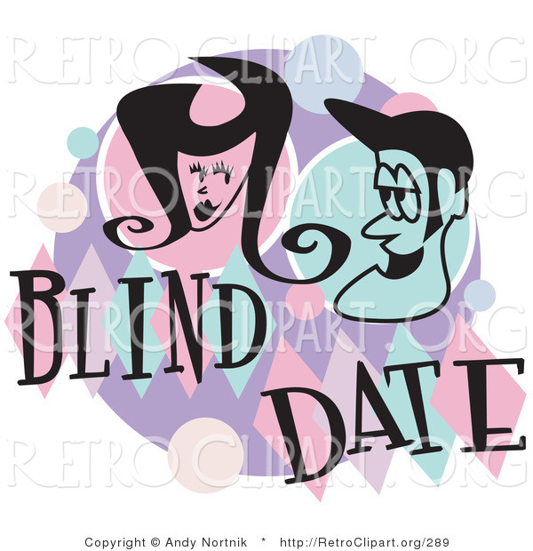 Retro Clipart of a Happy Man and Woman Grinning at Each Other While on a Blind Date