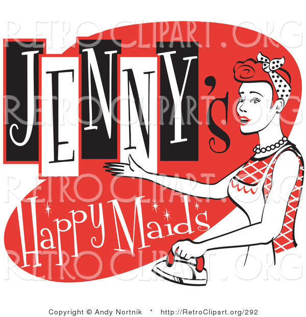 Retro Clipart of a Happy Red Headed Woman in an Apron, Ironing Clothes on a Vintage Jenny's Happy Maids Advertisement