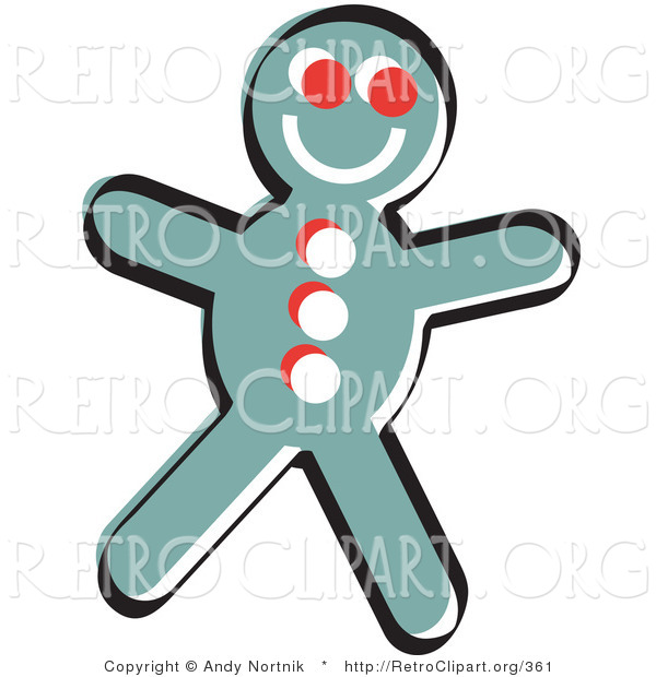 Retro Clipart of a Happy, Smiling Gingerbread Man Cookie