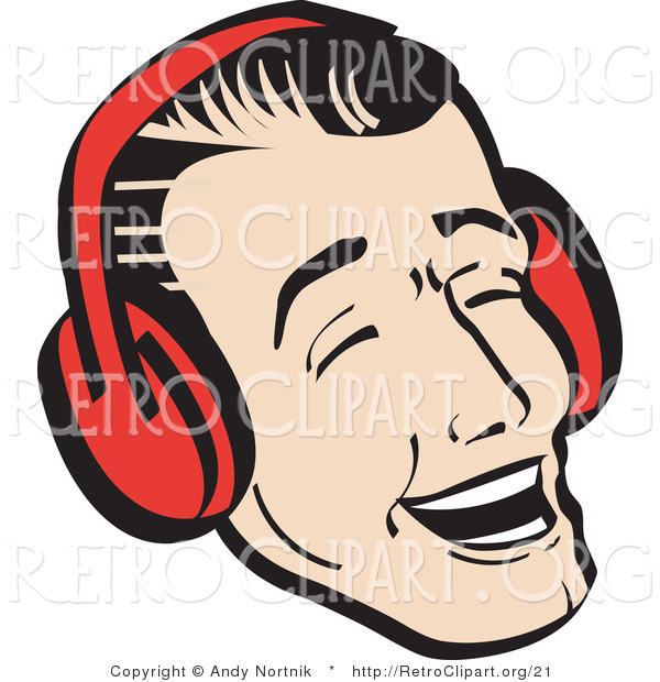 Retro Clipart of a Happy Young Man Wearing Ear Red Muffs and Singing Christmas Carols
