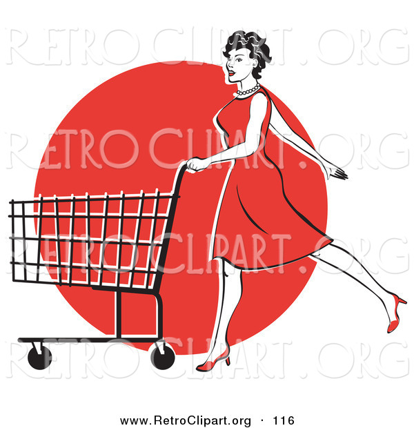 Retro Clipart of a Happy Young Woman in a Red Dress and High Heels, Walking and Pushing a Shopping Cart in Front of a Red Circle