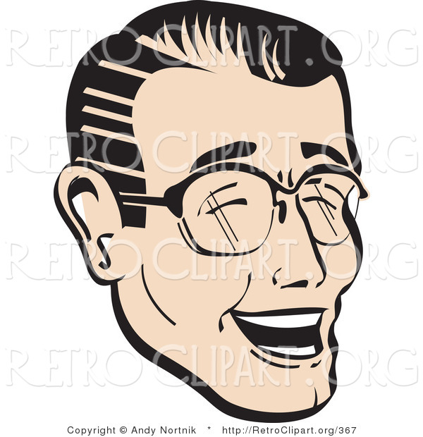 Retro Clipart of a Laughing, Happy Retro Man Wearing Glasses