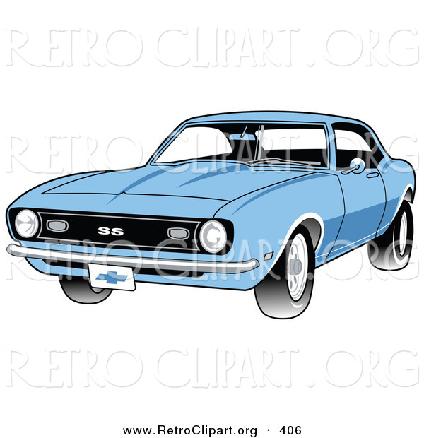 Retro Clipart of a Light Blue 1968 Chevrolet SS Camaro Muscle Car with a Chrome Bumper Driving Forward