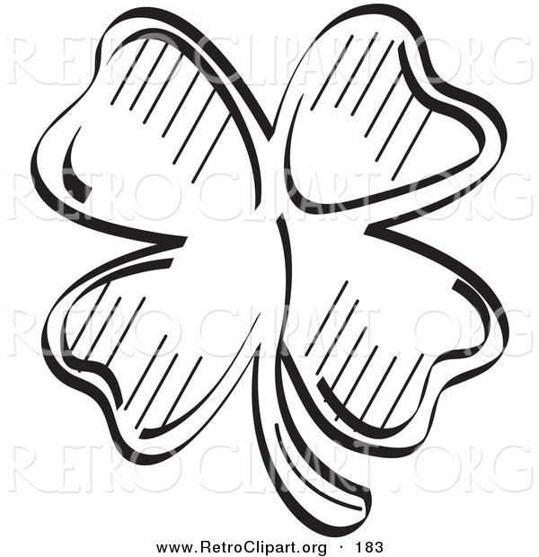 Retro Clipart of a Lucky Clover with Four Leaves on White