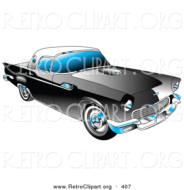 Retro Clipart of a New Black 1955 Ford Thunderbird Car with a White Removable Fiberglass Top and Chrome Accents