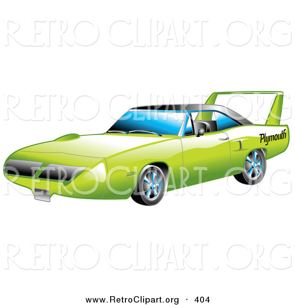 Retro Clipart of a New Green 1970 Plymouth Road Runner Superbird Racing Car with a Large Spoiler in the Back