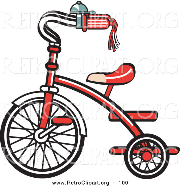 Retro Clipart of a New Red Trike Bike with a Bell on the Handlebars on White