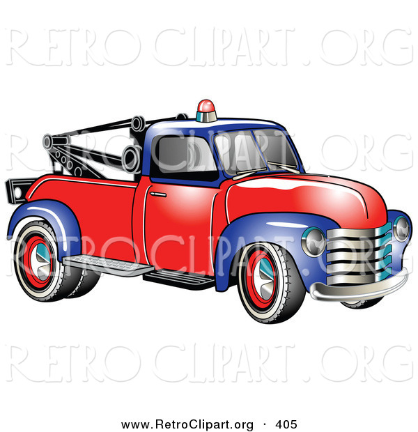 Retro Clipart of a New Vintage Blue and Red 1953 Chevy Tow Truck with a Light on Top of the Roof