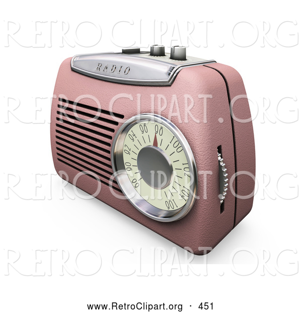 Retro Clipart of a Old Fashioned Retro Pink Radio with a Station Dial, on a White Surface
