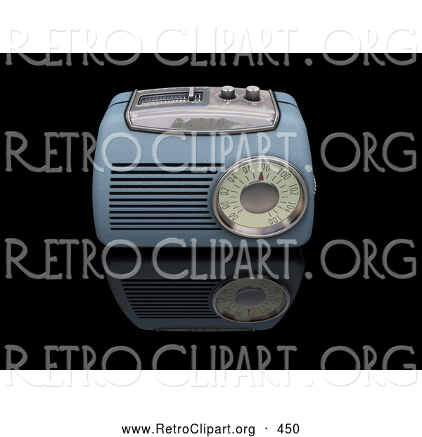Retro Clipart of a Old Fashioned Vintage Blue Radio with a Station Tuner, on a Reflective Black Surface