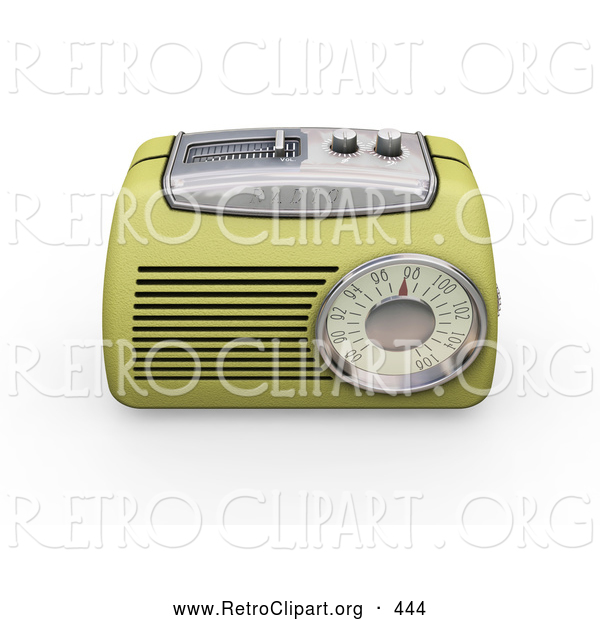 Retro Clipart of a Old Fashioned Vintage Greenish Yellow Radio with a Station Tuner, on a White Background