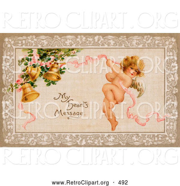 "Retro Clipart of a Old Fashioned Vintage Valentine of Cupid Flying and Tugging on a Pink Ribbon Connected to Golden Ringing Bells with Text Reading ""My Heart"