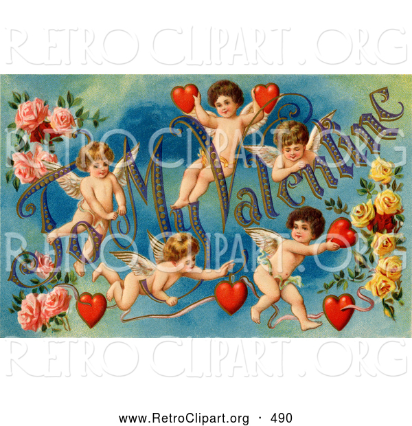 "Retro Clipart of a Old Fashioned Vintage Valentine of Five Playful Cupids with Roses, Decorated ""To My Valentine"" Text with Red Hearts, Circa 1911"