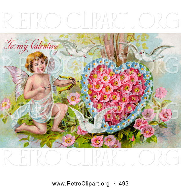 Retro Clipart of a Old Fashioned Vintage Valentine of Three White Doves Flying Around Cupid Aiming an Arrow at a Heart Made of Pink Poppies and Blue Forget Me Nots, Circa 1910