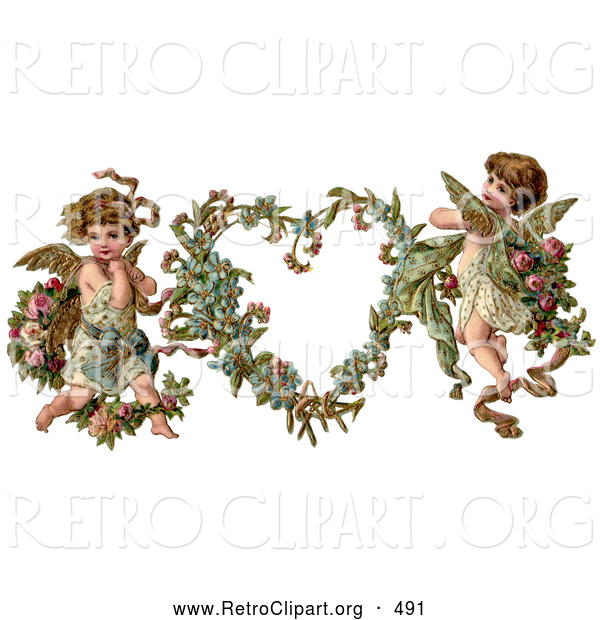 Retro Clipart of a Old Fashioned Vintage Valentine of Two Adorable Cupids with Roses Beside a Gilded Forget Me Not Valentine Heart Wreath