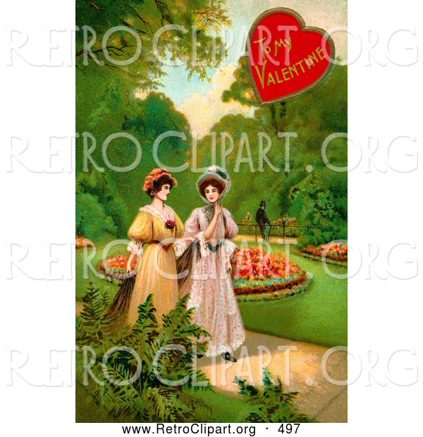 Retro Clipart of a Old Fashioned Vintage Valentine of Two Ladies Strolling Through a Garden and Talking About a Man in the Background
