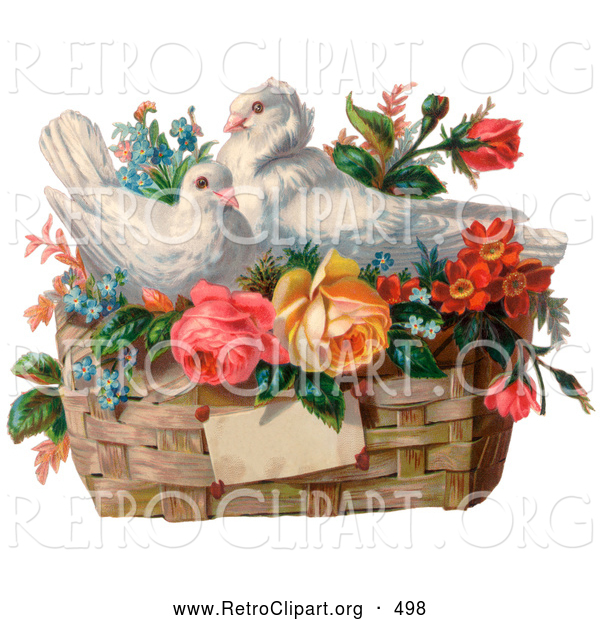 Retro Clipart of a Old Fashioned Vintage Valentine of Two White Doves Nesting in a Basket of Forget Me Nots and Roses, Circa 1890