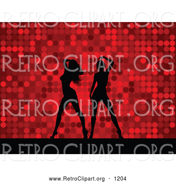Retro Clipart of a Pair of Black Silhouetted Women Dancing over a Retro Red Dotted Background
