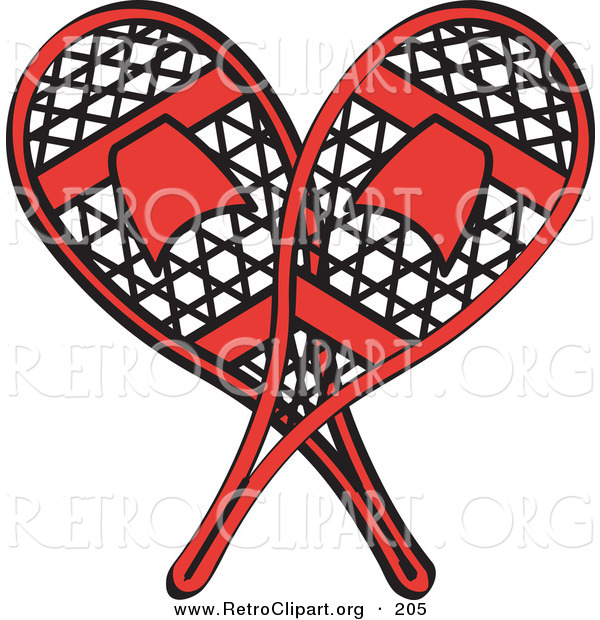 Retro Clipart of a Pair of Red Snowshoes Crossed on White