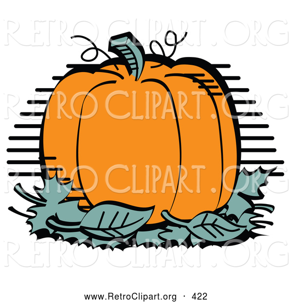 Retro Clipart of a Pile of Green Leaves and a Pumpkin