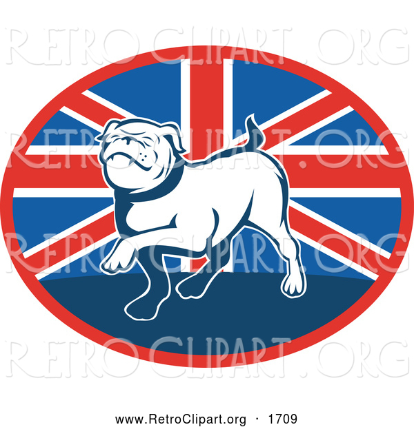 Retro Clipart of a Prancing Bulldog over a British Flag Oval