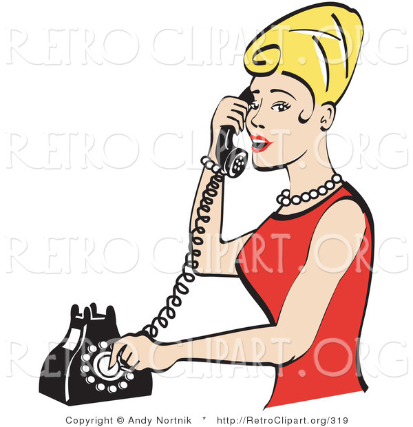 Retro Clipart of a Pretty Blond Housewife Woman with Tall Hair, Wearing Pearls and a Red Dress and Talking on a Rotary Dial Landline Telephone