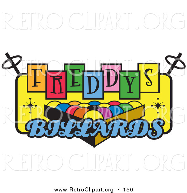 Retro Clipart of a Rack of Pool Balls on a Vintage Colorful Freddys Billiards Sign over White
