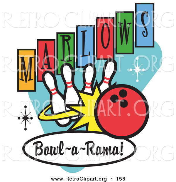 Retro Clipart of a Red Bowling Ball Rolling into Bowling Pins on a Vintage Marlows Bowl O Rama Sign