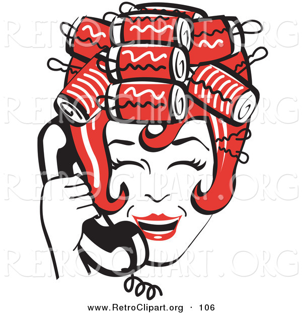 Retro Clipart of a Red Haired Happy Housewife with Her Hair up in Curlers, Laughing While Talking on a Landline Telephone