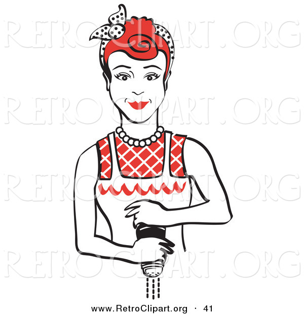 Retro Clipart of a Red Haired Housewife or Maid Woman Grinding Fresh Pepper While Cooking Food