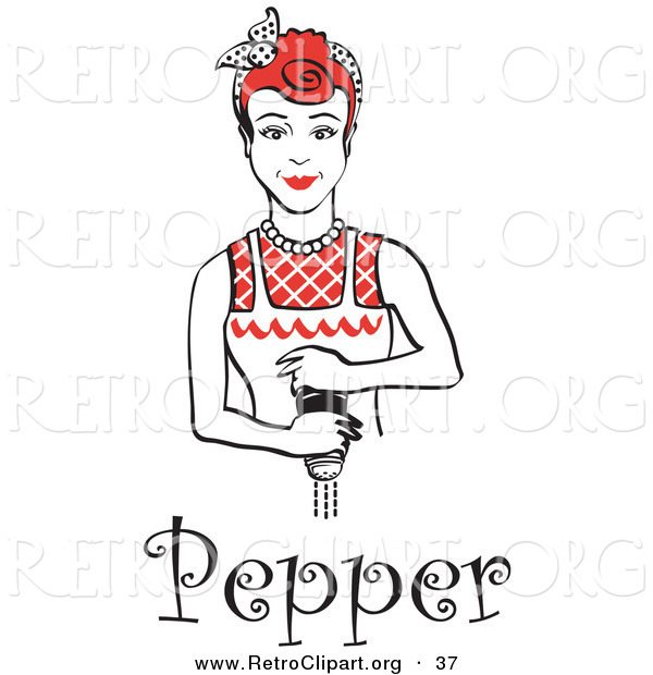 Retro Clipart of a Red Haired Housewife or Maid Woman Grinding Fresh Pepper While Cooking, with Text Underneath