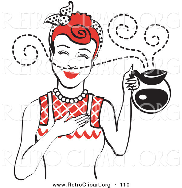 Retro Clipart of a Red Haired Waitress Woman Smelling the Wonderful Aroma of Fresh, Hot Coffee While Holding a Coffee Pot