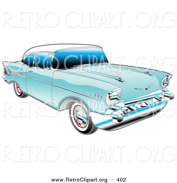 Retro Clipart of a Restored Blue 1957 Chevy Bel Air Car with a White Roof and Chrome Detailing