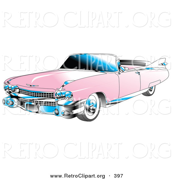 Retro Clipart of a Restored Pink Convertible 1959 Cadillac Car with Chrome Accents and the Top down