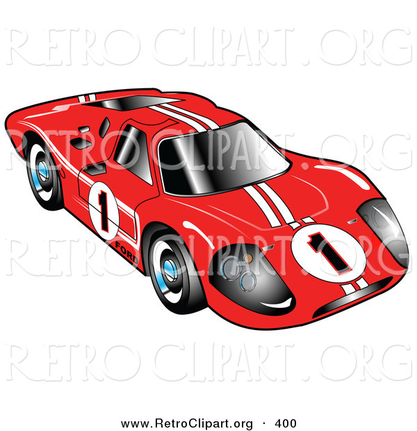 Retro Clipart of a Restored Red 1967 Ford Mark IV GT40 Racing Car with White Stripes and the Number 1