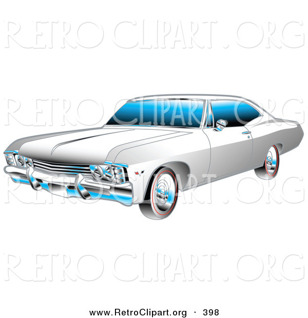 Retro Clipart of a Restored White and Chrome 1967 Chevrolet SS Impala Muscle Car