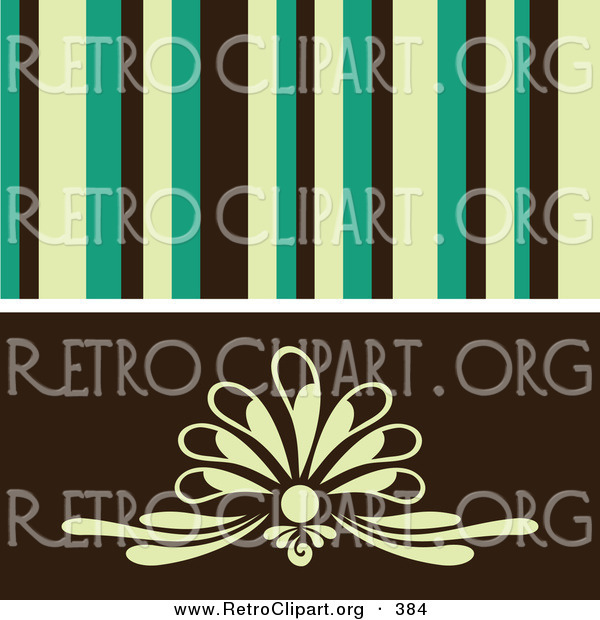 Retro Clipart of a Retro Background of Yellow, Green and Black Stipes over a Gentle Floral Design