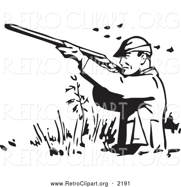 Retro Clipart of a Retro Black and White Hunter Wading and Shooting at Ducks