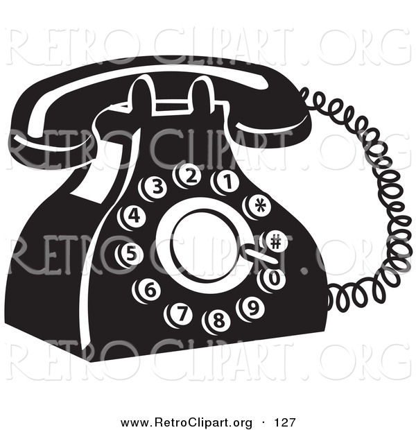 Retro Clipart of a Retro Black and White Rotary Landline Telephone