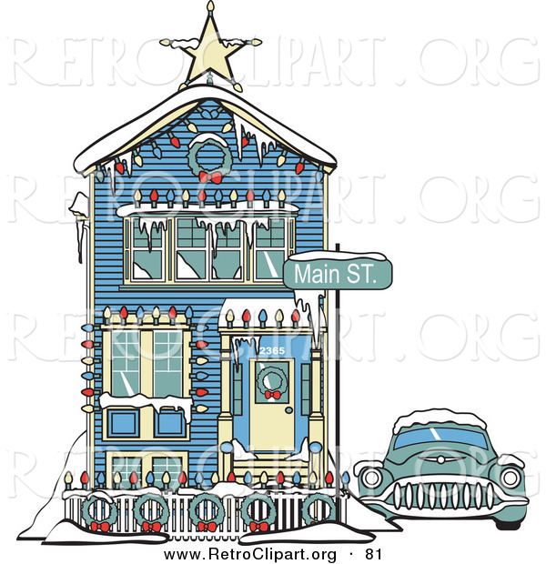 Retro Clipart of a Retro Car Covered in Snow Outside a Victorian House Decorated in Christmas Lights at 2365 Main Street Retro