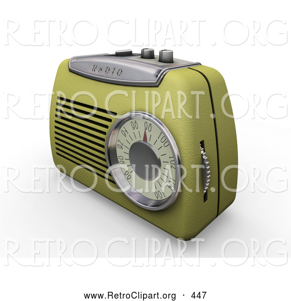Retro Clipart of a Retro Greenish Yellow Old Fashioned Radio with a Station Dial, on a White Surface