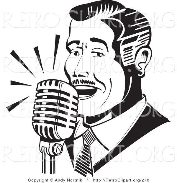 Retro Clipart of a Retro Man Singing or Announcing into a Microphone