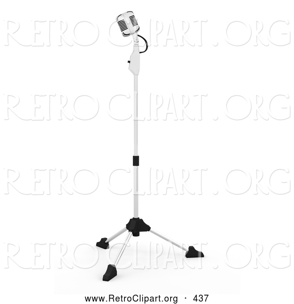 Retro Clipart of a Retro Microphone on a Stand in a Recording Studio, on a Solid White Background