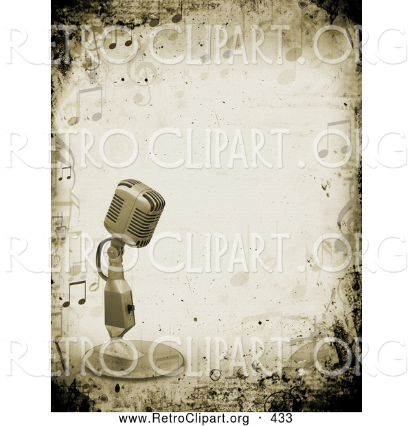 Retro Clipart of a Retro Microphone over a Grunge Background Bordered by Music Notes